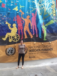 N-Map Program Director Abby Goldberg outside the offices of ProDH, a legal NGO in D.F.